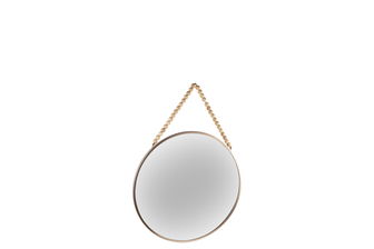 UTC41127 Metal Round Wall Mirror with Top Beads Hanger SM Metallic Finish Champagne
