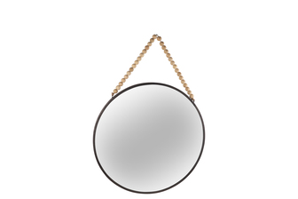 UTC41128 Metal Round Wall Mirror with Top Beads Hanger MD Distressed Finish Black