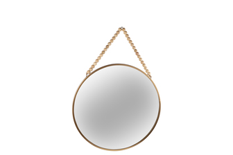 UTC41129 Metal Round Wall Mirror with Top Beads Hanger MD Metallic Finish Gold