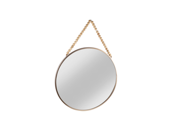 UTC41130 Metal Round Wall Mirror with Top Beads Hanger MD Metallic Finish Champagne