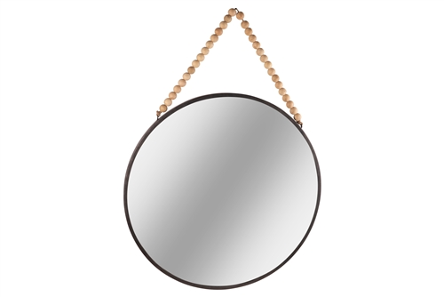 UTC41131 Metal Round Wall Mirror with Top Beads Hanger LG Distressed Finish Black
