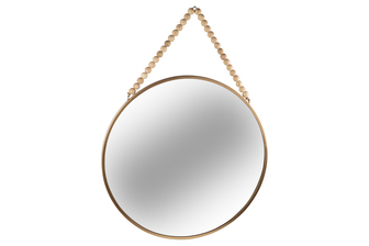 UTC41132 Metal Round Wall Mirror with Top Beads Hanger LG Metallic Finish Gold