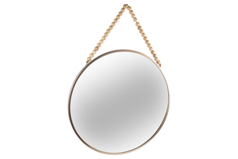 UTC41133 Metal Round Wall Mirror with Top Beads Hanger LG Metallic Finish Champagne