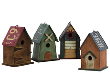 UTC41208-AST Wood Rectangle Birdhouse with Metal Roof and 1 Hole Assortment of Four Coated Finish Multicolor
