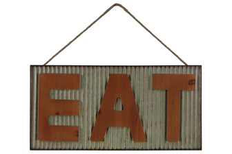 "UTC41209 Metal Rectangle Wall Art with Wooden ""EAT"" Letters Design and Rope Hanger Galvanized Finish Gray"