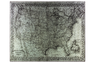 "UTC41210 Metal Etched Painting of the ""United States of America"" Map Galvanized Finish Gray"