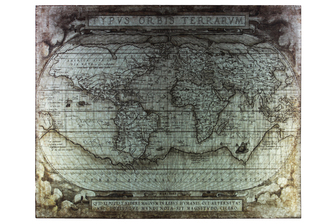 "UTC41212 Metal Etched Painting of ""Tyous Orbis Terrarum"" Map Galvanized Finish Gray"