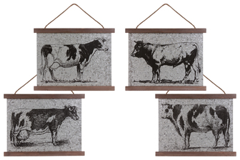 UTC41213-AST Metal Rectangular Wall Art with Farm Theme Design, Wood Top and Bottom Frame and Rope Hanger Assortment of Four Galvanized Finish Gray
