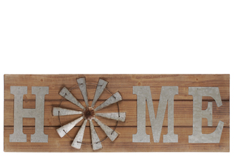 "UTC41214 Wood Rectangular Wall Art with Metal Alphabet ""HOME"" and O in Windmill Design Natural Finish Brown"
