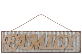 "UTC41215 Metal Rectangular Wall Art with Wood Alphabet ""FAMILY"", Rust Effect Edges and Rope Hanger Galvanized Finish Gray"