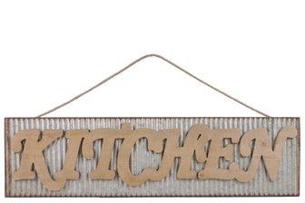 "UTC41216 Metal Rectangular Wall Art with Wood Alphabet ""KITCHEN"", Rust Effect Edges and Rope Hanger Galvanized Finish Gray"