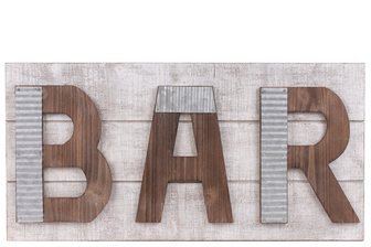 "UTC41217 Wood Rectangular Wall Art with Metal Outlined Alphabet ""BAR"" Natural Finish Brown"