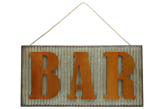 "UTC41223 Metal Rectangle Wall Art with Embossed Wooden ""BAR"" Writing, Wave Pattern Design Body and Top Rope Hanger Galvanized Finish Gray"