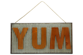 "UTC41224 Metal Rectangle Wall Art with Embossed Wooden ""YUM"" Writing, Wave Pattern Design Body and Top Rope Hanger Galvanized Finish Gray"