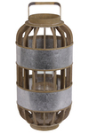 UTC41309 Wood Round Tall Lantern with Lattice Design Body, Handle and Metal Banded Rim Body LG Natural Finish Brown