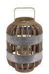 UTC41310 Wood Wide Round Lantern with Lattice Design Body, Handle and Metal Banded Rim Body Natural Finish Brown