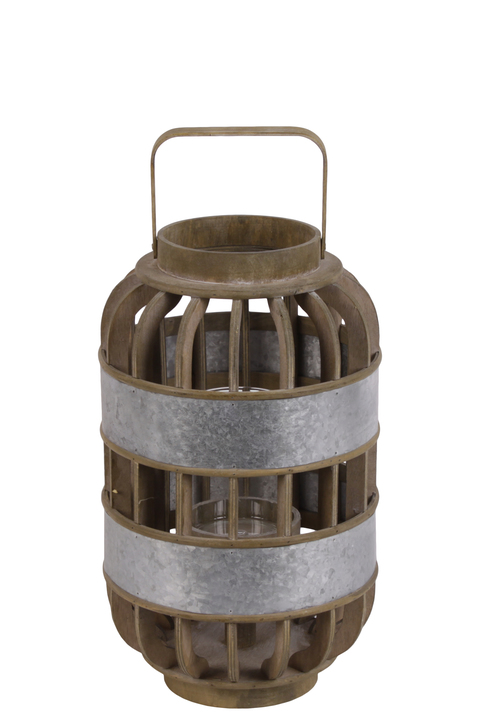 UTC41311 Wood Round Tall Lantern with Lattice Design Body, Handle and Metal Banded Rim Body SM Natural Finish Brown