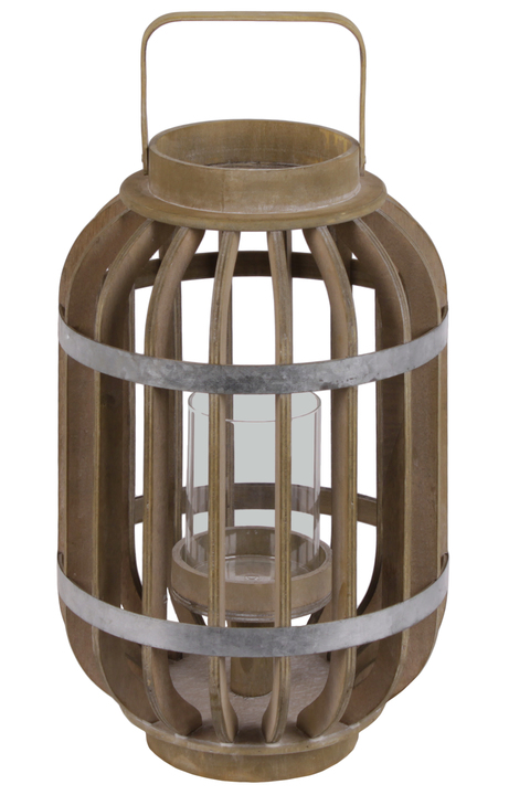 UTC41312 Wood Round Lantern with Lattice Design Body, Handle and Metal Banded Rim Body Natural Finish Brown