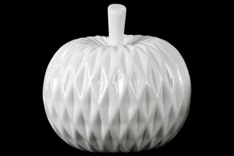 UTC41400 Ceramic Apple Figurine with Leaf on Stem and Embedded Diamond Design LG Gloss Finish White