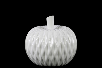 UTC41401 Ceramic Apple Figurine with Leaf on Stem and Embedded Diamond Design MD Gloss Finish White