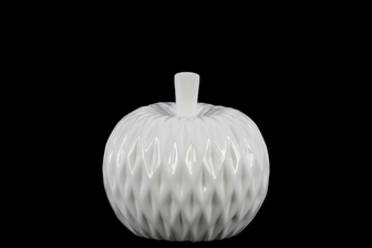 UTC41402 Ceramic Apple Figurine with Leaf on Stem and Embedded Diamond Design SM Gloss Finish White