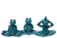 UTC41500-AST Ceramic Meditating Frog Figurine in Assorted Yoga Position Assortment of Three Distressed Gloss Finish Blue