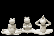 UTC41501-AST Ceramic Meditating Frog Figurine in Assorted Yoga Position Assortment of Three Distressed Gloss Finish White