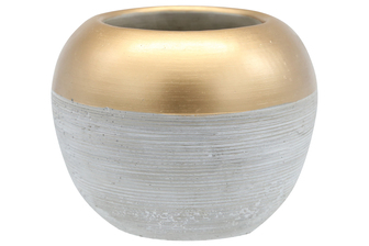 UTC41513 Cement Round Pot with Gold Speckled Banded Top and Brushed Design Body LG Concrete Finish Gray