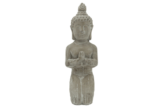 UTC41522 Cement Kneeling Budhha in Anjali Mudra Meditating Position LG Natural Finish Gray