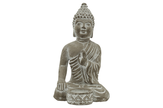 UTC41528 Cement Sitting Budhha in Abhaya Mudra Meditating Position with Front Candle Holder Natural Finish Gray