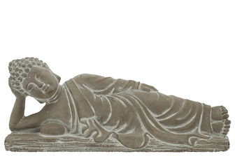 UTC41529 Cement Side Lying Buddha with Hand on Head Position on Flat Base LG Natural Finish Gray