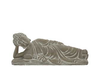 UTC41530 Cement Side Lying Buddha with Hand on Head Position on Flat Base SM Natural Finish Gray
