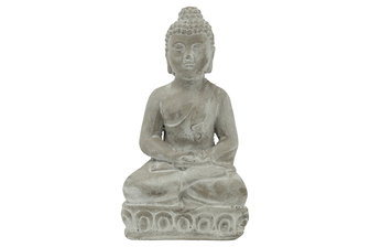 UTC41531 Cement Sitting Budhha in Dhyana Mudra Meditating Position on Flat Base Natural Finish Gray