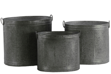 UTC42106 Metal Round Planters with Combed Design Body and 2 Side Ring Handles Set of Three Galvanized Finish Silver