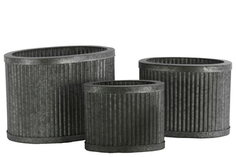 UTC42107 Metal Oval Planters with Rusted Banded Rim Top and Bottom, and Combed Design Body Set of Three SM Galvanized Finish Silver