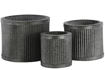 UTC42108 Metal Round Planters with Rusted Banded Rim Top and Bottom, and Combed Design Body Set of Three LG Galvanized Finish Silver