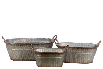 UTC42109 Metal Oval Bucket with Ribbed Design Body, Rust Effect Edges and Side Handles Set of Three Galvanized Finish Gray