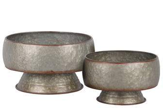 UTC42112 Metal Bellied Round Pot with Rust Effect Edges on Base Set of Two Galvanized Finish Gray