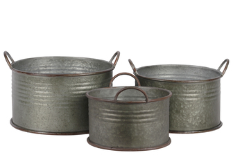 UTC42113 Metal Round Bucket with Ribbed Design Body, Rust Effect Edges and Side Handles Set of Three Galvanized Finish Gray