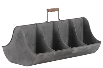 UTC42114 Metal Rectangular Caddy with Wooden Handle and 8 Slots Galvanized Finish Gray