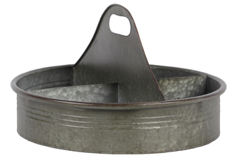 UTC42115 Metal Round Tray with Rust Effect Edges, 4 Slots and Cutout Handle Galvanized Finish Gray