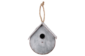 UTC42118 Metal Bird House with Gabled Roof Rope Hanger Galvanized Finish Gray