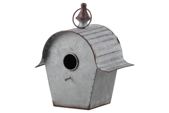 UTC42119 Metal Rectangle Bird House with Ring Hanger,Ribbed Arched Roof and Rustic Edges Galvanized Finish Gray
