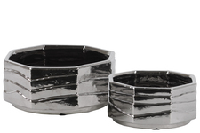 UTC42913 Ceramic Octagon Pot with Embossed Layered Design Body Set of Two Polished Chrome Finish Silver