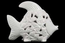 UTC43035 Ceramic Fish Figurine with Cutout Coastal Design Body Distressed Gloss Finish White