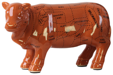 UTC43046 Ceramic Beef Cut Chart Figurine Coated Finish Brown