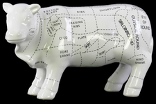UTC43047 Ceramic Beef Cut Chart Figurine Coated Finish White