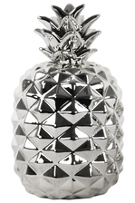 UTC43054 Ceramic Pineapple Figurine LG Polished Chrome Finish Silver