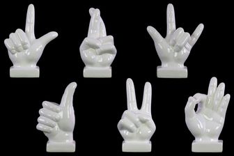 UTC43058-AST Ceramic Hand Signal Sculpture on Base Assortment of Six SM Gloss Finish White
