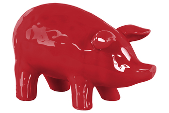 UTC43083 Ceramic Standing Pig Figurine LG Gloss Finish Red